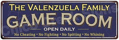 The Valenzuela Family Game Room Blue Vintage Look Metal 6x18 Sign Decor 6188122