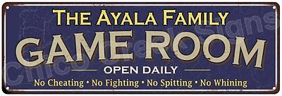 The Ayala Family Game Room Blue Vintage Look Metal 6x18 Sign Family Name 6187372