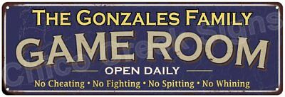 The Gonzales Family Game Room Blue Vintage Look Metal 6x18 Sign Decor 6187973