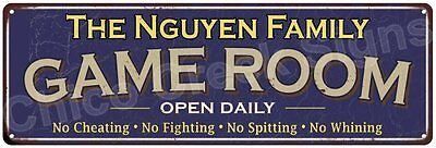 The Nguyen Family Game Room Blue Vintage Look Metal 6x18 Sign Wall Decor 6187510