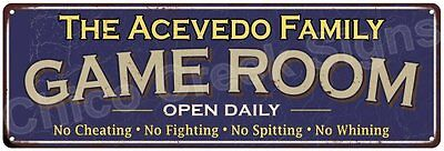 The Acevedo Family Game Room Blue Vintage Look Metal 6x18 Sign Decor 6187927