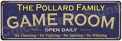 The Pollard Family Game Room Blue Vintage Look Metal 6x18 Sign Decor 6187950