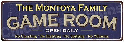 The Montoya Family Game Room Blue Vintage Look Metal 6x18 Sign Decor 6187861