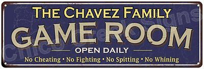 The Chavez Family Game Room Blue Vintage Look Metal 6x18 Sign Wall Decor 6187528