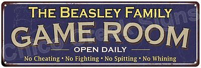 The Beasley Family Game Room Blue Vintage Look Metal 6x18 Sign Decor 6187898