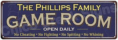 The Phillips Family Game Room Blue Vintage Look Metal 6x18 Sign Decor 6187968