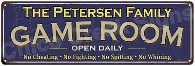 The Petersen Family Game Room Blue Vintage Look Metal 6x18 Sign Decor 6188015