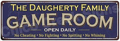 The Daugherty Family Game Room Blue Vintage Look Metal 6x18 Sign Decor 6188107