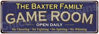 The Baxter Family Game Room Blue Vintage Look Metal 6x18 Sign Wall Decor 6187661
