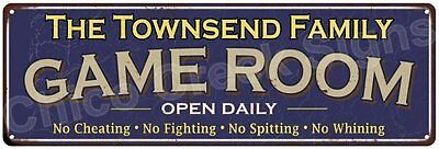The Townsend Family Game Room Blue Vintage Look Metal 6x18 Sign Decor 6188009