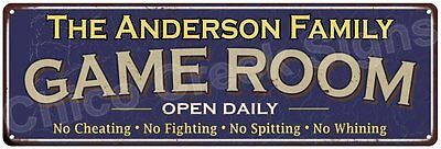 The Anderson Family Game Room Blue Vintage Look Metal 6x18 Sign Decor 6187962