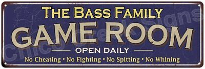The Bass Family Game Room Blue Vintage Look Metal 6x18 Sign Family Name 6187225