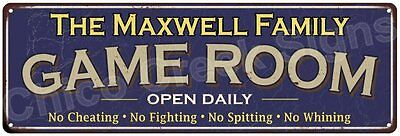 The Maxwell Family Game Room Blue Vintage Look Metal 6x18 Sign Decor 6187846