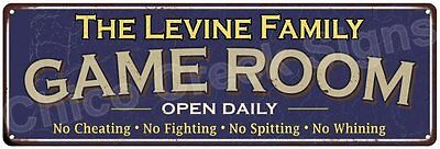The Levine Family Game Room Blue Vintage Look Metal 6x18 Sign Wall Decor 6187726