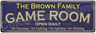 The Brown Family Game Room Blue Vintage Look Metal 6x18 Sign Family Name 6187283