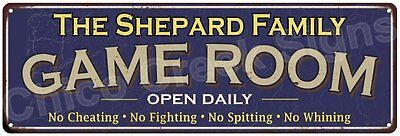 The Shepard Family Game Room Blue Vintage Look Metal 6x18 Sign Decor 6187923