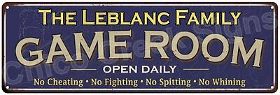 The Leblanc Family Game Room Blue Vintage Look Metal 6x18 Sign Decor 6187916