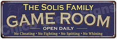 The Solis Family Game Room Blue Vintage Look Metal 6x18 Sign Family Name 6187386