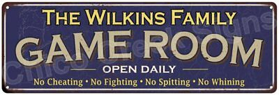 The Wilkins Family Game Room Blue Vintage Look Metal 6x18 Sign Decor 6187863