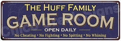 The Huff Family Game Room Blue Vintage Look Metal 6x18 Sign Family Name 6187226