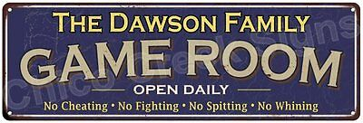 The Dawson Family Game Room Blue Vintage Look Metal 6x18 Sign Wall Decor 6187598