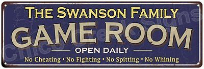 The Swanson Family Game Room Blue Vintage Look Metal 6x18 Sign Decor 6187827