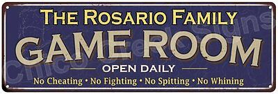 The Rosario Family Game Room Blue Vintage Look Metal 6x18 Sign Decor 6187935
