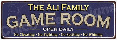 The Ali Family Game Room Blue Vintage Look Metal 6x18 Sign Family Name 6187146