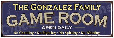 The Gonzalez Family Game Room Blue Vintage Look Metal 6x18 Sign Decor 6187964