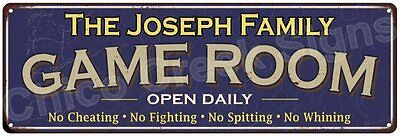 The Joseph Family Game Room Blue Vintage Look Metal 6x18 Sign Wall Decor 6187599