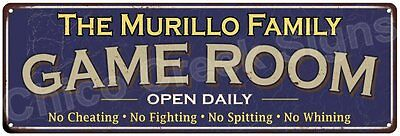 The Murillo Family Game Room Blue Vintage Look Metal 6x18 Sign Decor 6187959