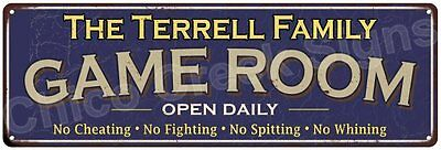 The Terrell Family Game Room Blue Vintage Look Metal 6x18 Sign Decor 6187953