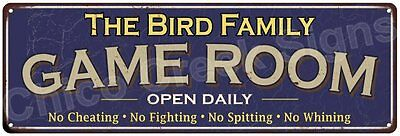 The Bird Family Game Room Blue Vintage Look Metal 6x18 Sign Family Name 6187272
