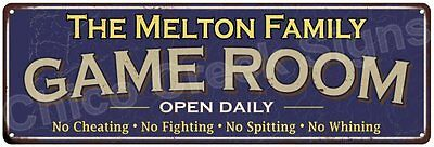 The Melton Family Game Room Blue Vintage Look Metal 6x18 Sign Wall Decor 6187658