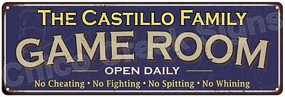 The Castillo Family Game Room Blue Vintage Look Metal 6x18 Sign Decor 6187977