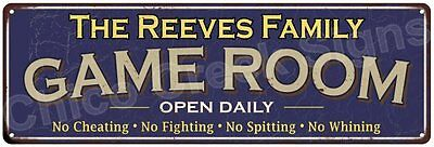The Reeves Family Game Room Blue Vintage Look Metal 6x18 Sign Wall Decor 6187600