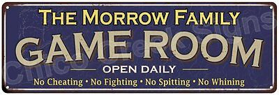The Morrow Family Game Room Blue Vintage Look Metal 6x18 Sign Wall Decor 6187641