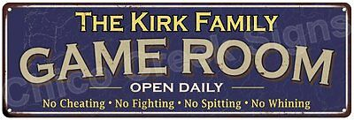 The Kirk Family Game Room Blue Vintage Look Metal 6x18 Sign Family Name 6187228