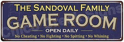 The Sandoval Family Game Room Blue Vintage Look Metal 6x18 Sign Decor 6187988