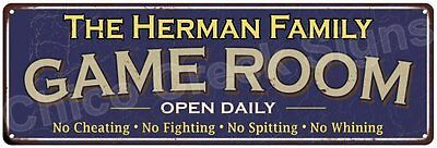 The Herman Family Game Room Blue Vintage Look Metal 6x18 Sign Wall Decor 6187683
