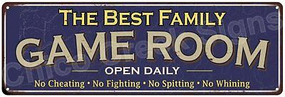 The Best Family Game Room Blue Vintage Look Metal 6x18 Sign Family Name 6187263