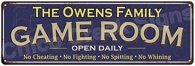 The Owens Family Game Room Blue Vintage Look Metal 6x18 Sign Family Name 6187310