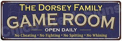 The Dorsey Family Game Room Blue Vintage Look Metal 6x18 Sign Wall Decor 6187689