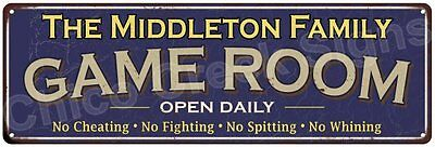 The Middleton Family Game Room Blue Vintage Look Metal 6x18 Sign Decor 6188095