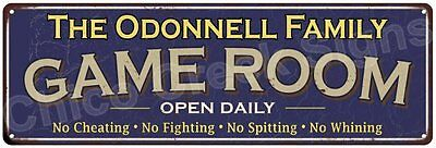 The Odonnell Family Game Room Blue Vintage Look Metal 6x18 Sign Decor 6188032