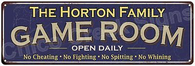 The Horton Family Game Room Blue Vintage Look Metal 6x18 Sign Wall Decor 6187594
