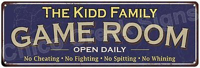 The Kidd Family Game Room Blue Vintage Look Metal 6x18 Sign Family Name 6187281