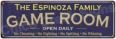 The Espinoza Family Game Room Blue Vintage Look Metal 6x18 Sign Decor 6188002