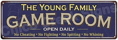 The Young Family Game Room Blue Vintage Look Metal 6x18 Sign Family Name 6187292