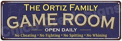 The Ortiz Family Game Room Blue Vintage Look Metal 6x18 Sign Family Name 6187305